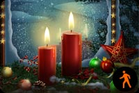 Animated Christmas Ornaments, Stars & Candle Stationery, Backgrounds