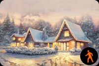 Animated Christmas Lodge Stationery, Backgrounds