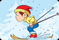 Boy Skiing In The Snow Stationery, Backgrounds