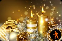 Animated Gold Christmas Candles Stationery, Backgrounds