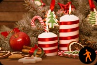 Animated Merry Christmas Candles & Chocolates Stationery, Backgrounds