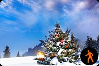 Animated Christmas Tree Snow Day Stationery, Backgrounds