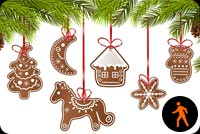 Animated Christmas Cookie Ornaments Stationery, Backgrounds