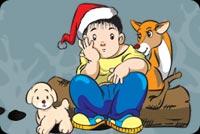 Little Boy Wearing Santa Hat Stationery, Backgrounds