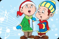 Christmas email stationery. Little Boys Sinigng Carols