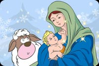 Christmas email stationery. Mary With Baby Jesus