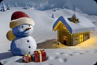 Christmas email stationery. Giant Frosty And A Home