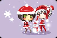 2 Girls In Santa Attire Stationery, Backgrounds