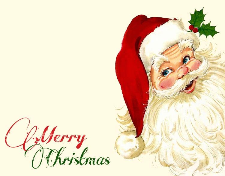 Christmas email stationery (stationary): Santa Says Merry Christmas