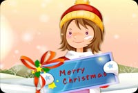 Little Girl Says Merry Christmas Stationery, Backgrounds