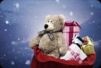 Teddy Bear And Presents In A Bag Stationery, Backgrounds