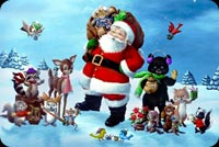 Santa Celebrates Christmas With Friends Stationery, Backgrounds