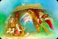 Christmas email stationery. Merry, Joseph, Jesus In The Stable