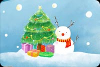Frosty, Christmas Tree And Presents Stationery, Backgrounds