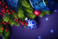 Christmas email stationery. Blue Christmas Balls And Ribbon