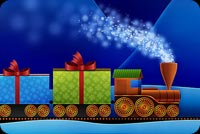 Christmas email stationery. Train Carrying Christmas Presents