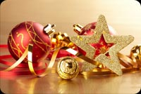 Gold Star And Red Christmas Balls Stationery, Backgrounds