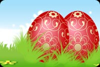 2 Red Easter Eggs Stationery, Backgrounds