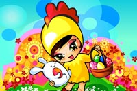 Cute Girl In Chicken Costume Stationery, Backgrounds