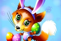 Fox Bunny Ears & Easter Eggs Stationery, Backgrounds