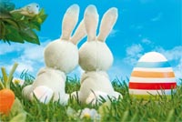 Bunny Couple Happy Easter Stationery, Backgrounds