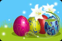 Colorful Easter Eggs And Flowers Stationery, Backgrounds