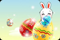 Easter email stationery. Easter Bunny And Colorful Eggs