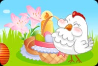 Chicken And An Easter Egg Basket Stationery, Backgrounds