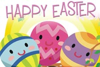 Cute Easter Eggs On The Tree Stationery, Backgrounds