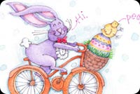 Easter Bunny Bike Ride Stationery, Backgrounds