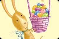 Easter email stationery. Easter Bunny Basket Full Of Eggs