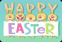 Easter email stationery. Smiling Bunnies Happy Easter