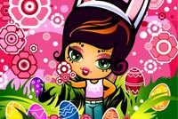 Cute Girl & Colorful Easter Eggs Stationery, Backgrounds