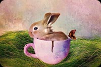 Cute Bunny In The Cup Stationery, Backgrounds