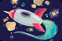 Spaceship Cartoon Stationery, Backgrounds
