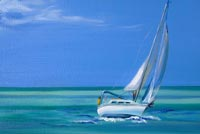 Painting Sailboat & Ocean Stationery, Backgrounds