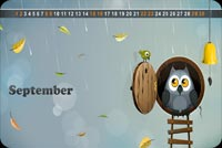 Fall autumn email stationery. An Owl And A Tiny Bird