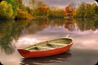 Fall autumn email stationery. Fall Lake Sunset & Small Boat