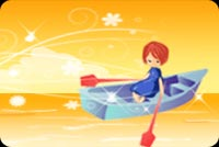 A Girl And A Boat On Autumn Stationery, Backgrounds
