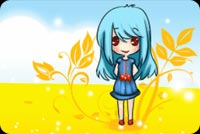 Blue Haired Girl And Autumn Leaves Stationery, Backgrounds