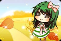 Fall autumn email stationery. A Leaf And Green Haired Girl