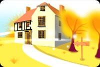 Fall autumn email stationery. A Mansion At Autumn