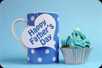 Happy Father's Day Blue Coffee Cup & Cupcake Stationery, Backgrounds