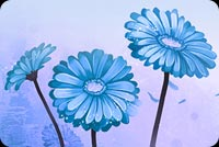 Art Blue Flowers Stationery, Backgrounds