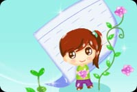Get well email stationery. Pretty Girl And Long Stemmed Flower