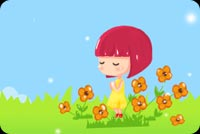 Girl Surrounded With Flowers Stationery, Backgrounds