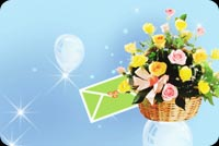 Get well email stationery. Basket Of Flowers With Card