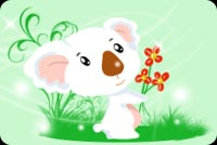 White Koala With 3 Flowers Stationery, Backgrounds