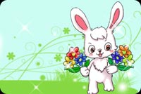 White Bunny With Pretty Flowers Stationery, Backgrounds