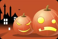 Halloween email stationery. Pumpkin With Evil Smile